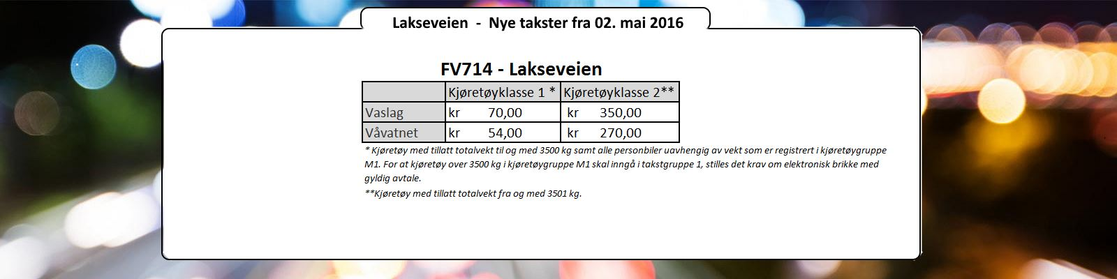 Lakseveien - Nye takster 02. mai 2016